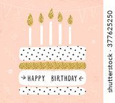 cute happy birthday card with... | Shutterstock .eps vector #377625250