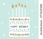 cute happy birthday card with... | Shutterstock .eps vector #377625280