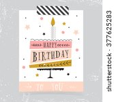 cute happy birthday card with... | Shutterstock .eps vector #377625283