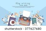 typewriter author writer... | Shutterstock .eps vector #377627680