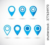 geolocation blue signs set....