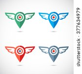 wings logo geo pin. colorful ... | Shutterstock .eps vector #377634979