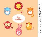 egg shaped animals set.... | Shutterstock .eps vector #377637310