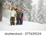 children with toboggan | Shutterstock . vector #377639224