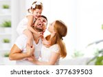 Stock photo happy family mother father child daughter at home 377639503
