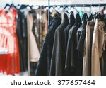 clothes on hangers in a retail... | Shutterstock . vector #377657464