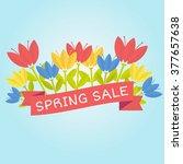 Spring Sale   On Blue...