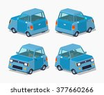 blue compact car. 3d lowpoly... | Shutterstock .eps vector #377660266