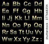 alphabet pseudo 3d golden... | Shutterstock .eps vector #377668354
