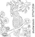 hand drawn ink pattern.... | Shutterstock .eps vector #377671534