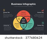 Flat business presentation vector slide template with circle venn diagram | Shutterstock vector #377680624