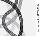 black tire track. tire track... | Shutterstock .eps vector #377682394