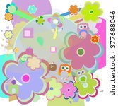 birthday party elements with... | Shutterstock .eps vector #377688046