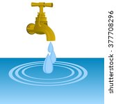 water tap and water drops. the...   Shutterstock .eps vector #377708296