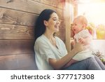 happy loving family. mother and ... | Shutterstock . vector #377717308