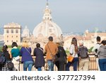 group of tourist in rome  italy. | Shutterstock . vector #377727394