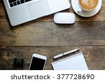 office wood table with notepad... | Shutterstock . vector #377728690
