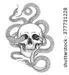 skull and snake. tattoo art ... | Shutterstock .eps vector #377731228