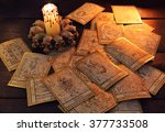 pile of the tarot cards in... | Shutterstock . vector #377733508