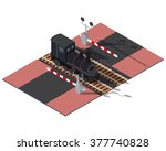 isometric railway barriers and... | Shutterstock .eps vector #377740828