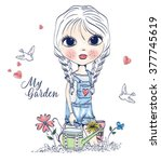 cute girl in a garden | Shutterstock .eps vector #377745619