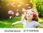 free happy child in park... | Shutterstock . vector #377749900