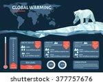 polar bears and global warming... | Shutterstock .eps vector #377757676