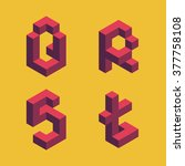 3d flat isometric alphabet.... | Shutterstock .eps vector #377758108