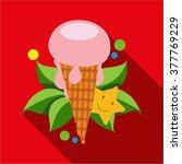 strawberry ice cream cone icon... | Shutterstock .eps vector #377769229