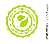 """vegan"" Green Round Rubber Stamp"