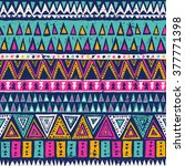 multicolor tribal navajo vector ... | Shutterstock .eps vector #377771398