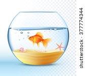 goldfish swimming in round... | Shutterstock .eps vector #377774344