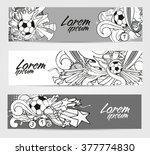 doodle gray banners with soccer ... | Shutterstock .eps vector #377774830