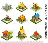 medieval isometric buildings... | Shutterstock .eps vector #377776120