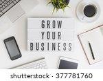 grow your business words on... | Shutterstock . vector #377781760
