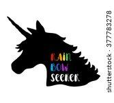 black silhouette of unicorn... | Shutterstock .eps vector #377783278