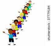 vector happy line of kids | Shutterstock .eps vector #37779184