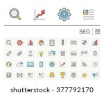 vector thin line icons set and... | Shutterstock .eps vector #377792170