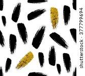 black and gold glitter brush... | Shutterstock .eps vector #377799694