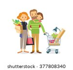 family with kid shopping | Shutterstock .eps vector #377808340