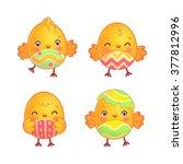 easter chicks set. cute easter... | Shutterstock .eps vector #377812996
