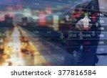 double exposure of business... | Shutterstock . vector #377816584
