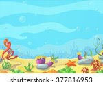 underwater world blue sea ... | Shutterstock .eps vector #377816953