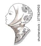beautiful face of arabic muslim ... | Shutterstock . vector #377824903