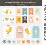 beautiful collection of easter...   Shutterstock .eps vector #377827579