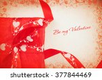 red gift box and heart.... | Shutterstock . vector #377844469