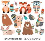 Stock vector woodland tribal animals cute forest and nature design elements vector 377846449