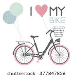 stylish card with retro bicycle ... | Shutterstock .eps vector #377847826