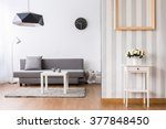 stylish living room with grey... | Shutterstock . vector #377848450