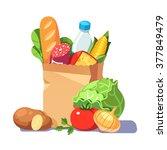 groceries in a paper bag....   Shutterstock .eps vector #377849479